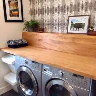 Space Saving Laundry Room Solution - Maple Counter Top with Matching Shelf -