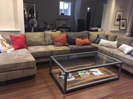 Custom Steel Coffee Table with Rough-Sawn Shelf and Glass Top