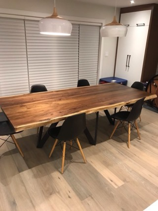 Live Edge Walnut Dining Table with Custom Square Hairpin Legs