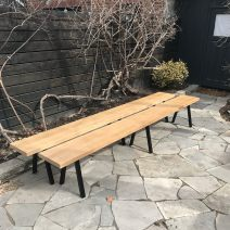 White Oak Bench with Powdercoated Steel Legs