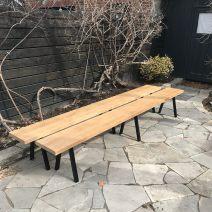 White Oak Bench with Powdercoated Steel Legs