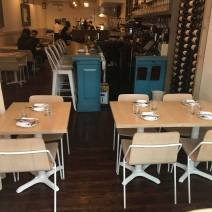 Custom Red Oak Restaurant Tables with Steel Powdercoated Bases