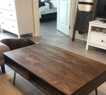 Stained Maple Coffee Table with Storage Compartments